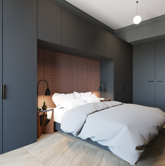 спальня со встроенными шкафами над кроватью