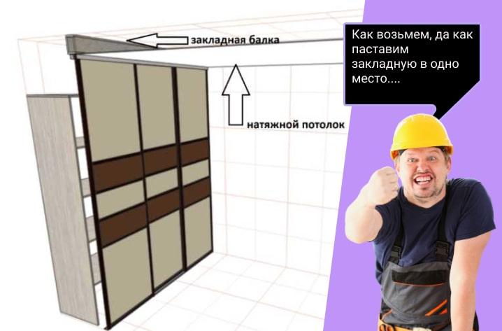 можно ли сделать встроенный шкаф при натяжном потолке